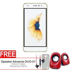 Advan Vandroid G1 3/32GB 4G - Gold + Gratis Speaker Advance DUO-01, Silicon Case & Earphone Original
