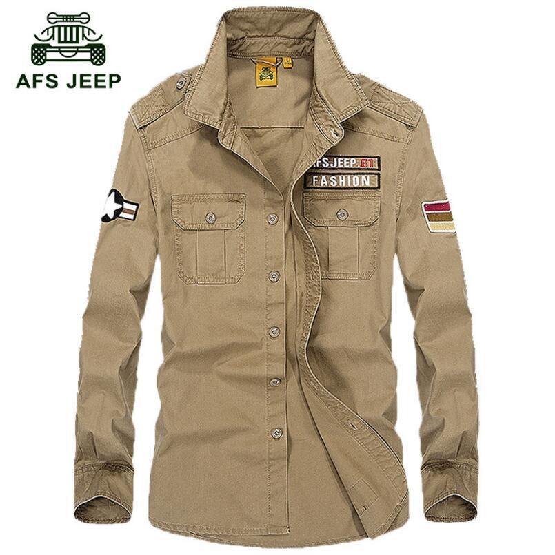 Jual Afs Jeep Pria Fashion Kasual Panjang Lengan Kemeja Khaki Intl Branded
