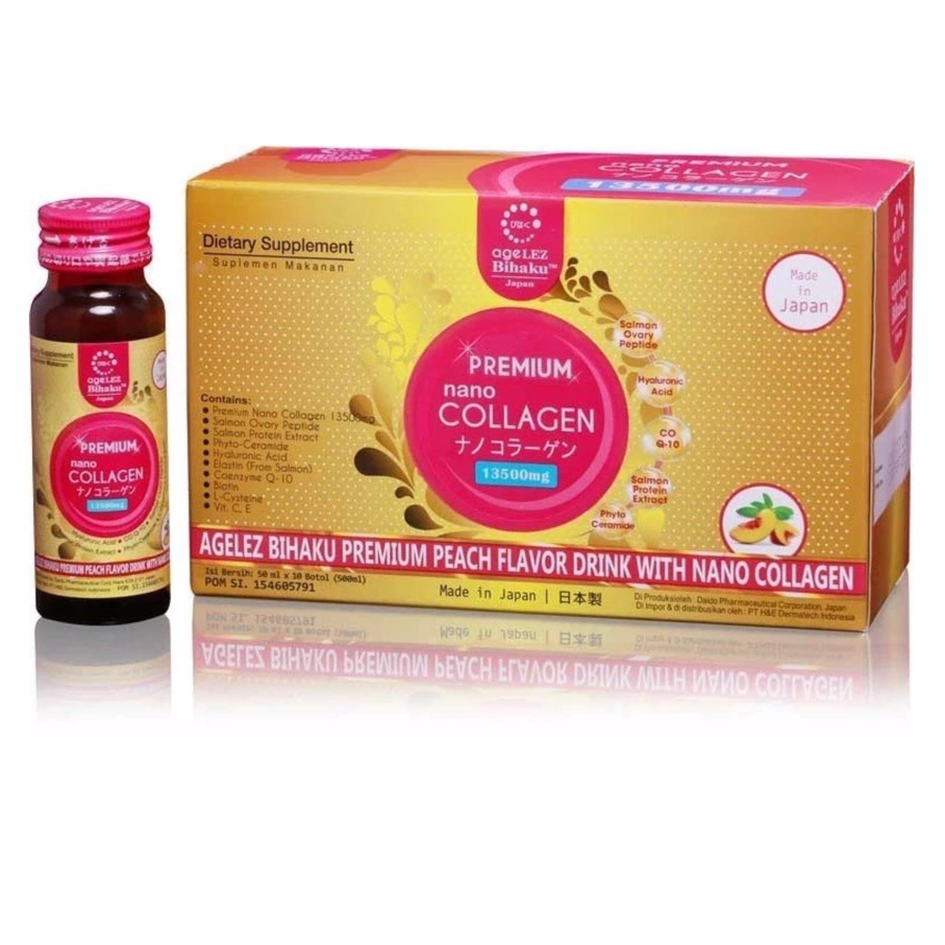 Beli Barang Agelez Bihaku Premium Nano Collagen 13 500Mg Isi 10 Botol Online