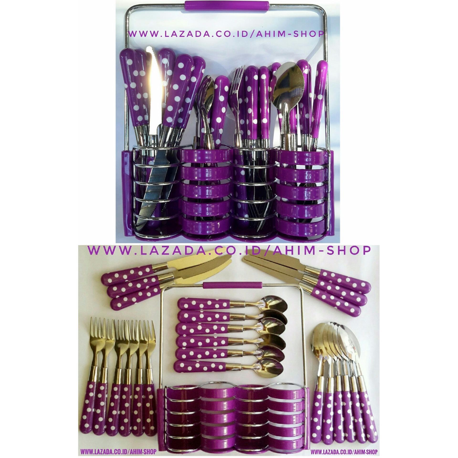 Harga Ahim Shop Stainless Steel Cutlery Set 24Pcs Peralatan Sendok Makan Sendok Teh Garpu Forks Pisau Knives Rak Polkadot Ungu Satu Set