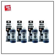 Paket Hemat Tinta Epson 664 Aiflo L100 L200 L350 4 Botol 100ml Hitam Black