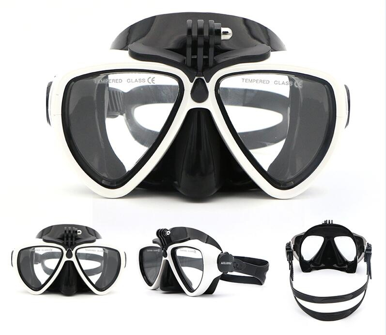 Ailloma Scuba Anti-kabut Di Bawah Air Kamera Dudukan Penyangga Menyelam Masker Anti-selip Kaca Melunakkan Silikon PVC Renang Masker Kacamata -Internasional