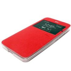 AIMI ume Flip cover Flipshell Samsung Galaxy E7 E700 lather case sarung dompet samsung e7 e700 - merah
