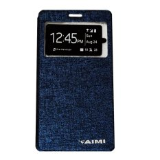 Aimi Leather Case Sarung Untuk Vivo Y15 Flipshell/Flipcover - Biru tua