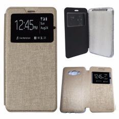 Aimi Leather Cover Samsung Galaxy J5 J500 Leather Case Sarung / Flipshell / Flip Cover Kulit Samsung J5 / Sarung HP / Flip Cover Samsung J5 J500 / Sarung Handphone Kulit Sintetis - Gold