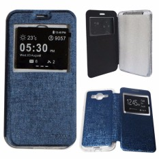 Aimi Leather Cover Samsung Galaxy J5 J500 Leather Case Sarung / Flipshell / Flip Cover Kulit Samsung J5 / Sarung HP / Flip Cover Samsung J5 J500 / Sarung Handphone Kulit Sintetis - Navy / Biru Tua