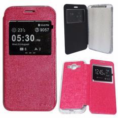 Aimi Leather Cover Samsung Galaxy J5 J500 Leather Case Sarung / Flipshell / Flip Cover Kulit Samsung J5 / Sarung HP / Flip Cover Samsung J5 J500 / Sarung Handphone Kulit Sintetis - Pink / Merah Muda