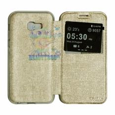 AIMI Leather Sarung For Samsung Galaxy A7 2017 A720 Flipshell / Leather Case / Flip Cover Kulit / Sarung Case / Sarung Handphone / Sarung HP - Gold