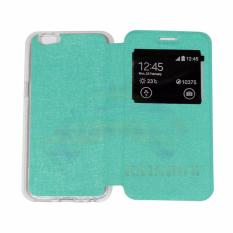 Aimi OPPO A57 Flip Cover Kulit Sintetis With Silicone Interior/ Flip Shell Leather Faux / Sarung Phone Case - Hijau Tosca