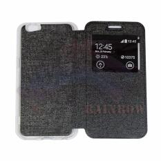 Aimi OPPO A57 Flip Cover Kulit Sintetis With Silicone Interior/ Flip Shell Leather Faux / Sarung Phone Case - Hitam