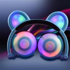 AJKOY Anak-anak Kartun Bear Headset Glowable Cell Phone Lipat Plug Musik Headphone-Biru