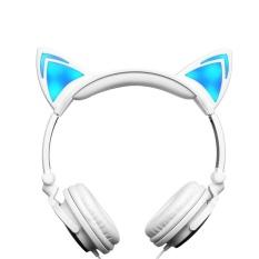 AJKOY-Lipat Berkedip Headphone Telinga Bercahaya Headphone Gaming Headset Musik Earphone dengan LED Light untuk