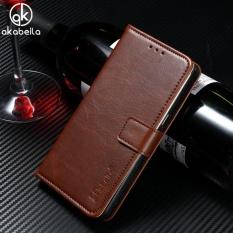 AKABEILA Dompet Kulit Telepon Kasus PENUTUP untuk Lenovo K6 K6 Power K33a42 5.0 Inch Mewah Plain Crazy Horse Ponsel Dompet Case Cover Pemegang Kartu