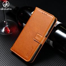 AKABEILA Dompet Kulit Phone Case untuk Lenovo VIBE C2 K10A40 C2 Power 5.0 Inch Mewah Plain Crazy Horse Ponsel Dompet Kasus Cover Card Holder-Intl