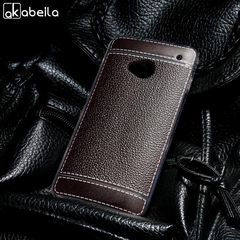 AKABEILA Lembut TPU Ponsel Cover Case untuk HTC ONE M7 801E 801 S Single SIM 801 802 W Dual SIM 802D 802 T 4.7 Inch Meliputi Litchi Tas Telepon Shell Back Silicone Hood Perumahan Kulit-Intl