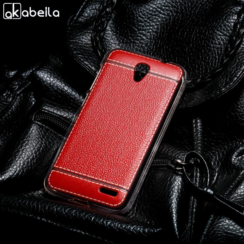 AKABEILA Lembut TPU Ponsel Cover Kasus untuk Alcatel OneTouch Pop 2 M5 5042 4.5 Inch One Touch Pop2 5042X 5042D 5042A 5042 W 5042E Meliputi Litchi Phone Silicone Hood Perumahan Belakang-Intl