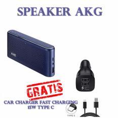 AKG Portable Bluetooth Speaker S30 Gratis Car Charger 2 Port Fast Charging Type C-Blue