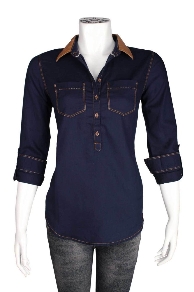 Beli Ako Jeans Long Sleeve Shirt Navy Trolin 14 4250