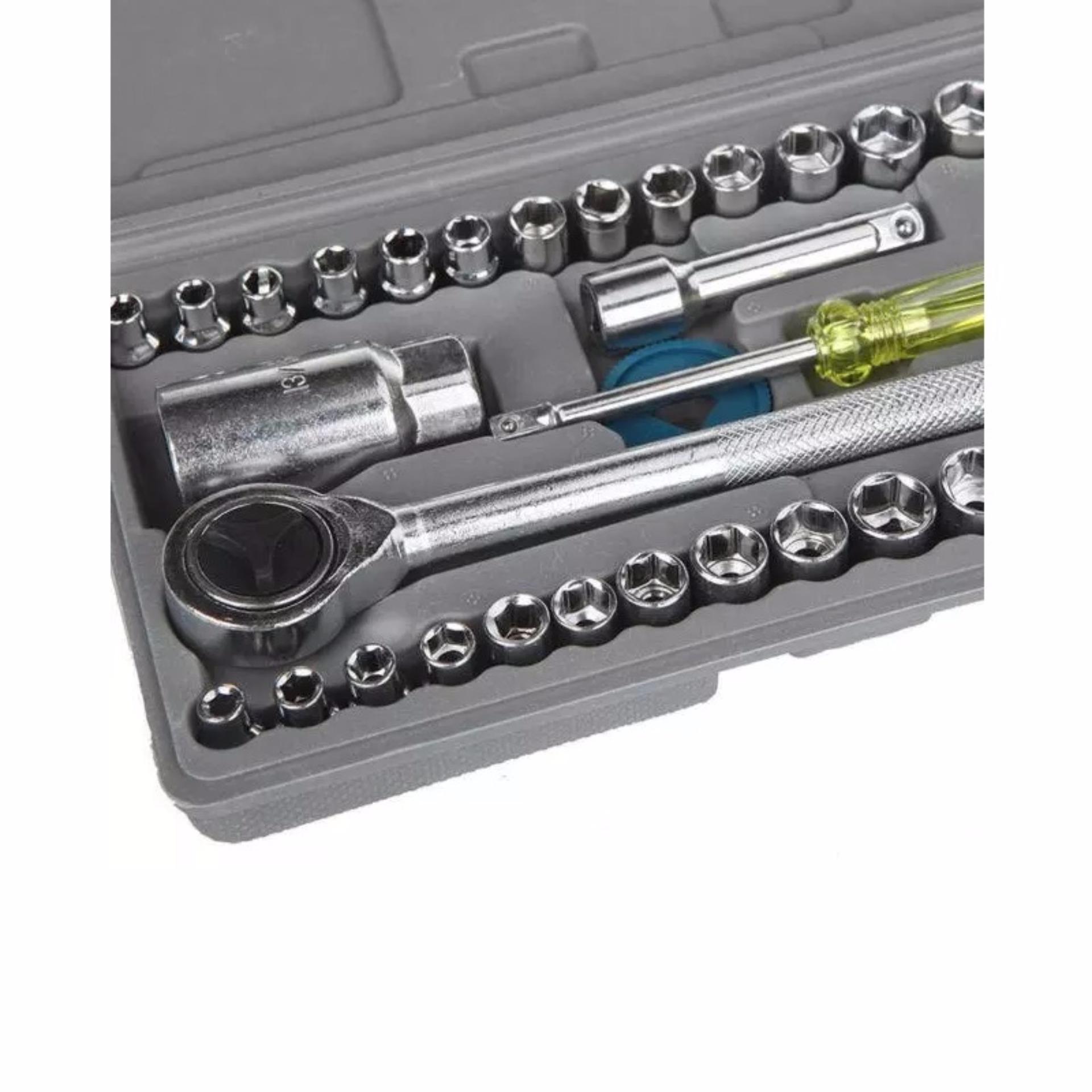 Alat Kunci Sok Pas Lengkap Socket + Obeng + Toolbox Mudah Dibawa Untuk Mobil / Motor Bahan Awet Kuat