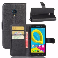 Alcatel U5 Case Leather Flip Back Cover untuk 5.0 Inches Alcatel U5 dengan Stand And Wallet-Intl