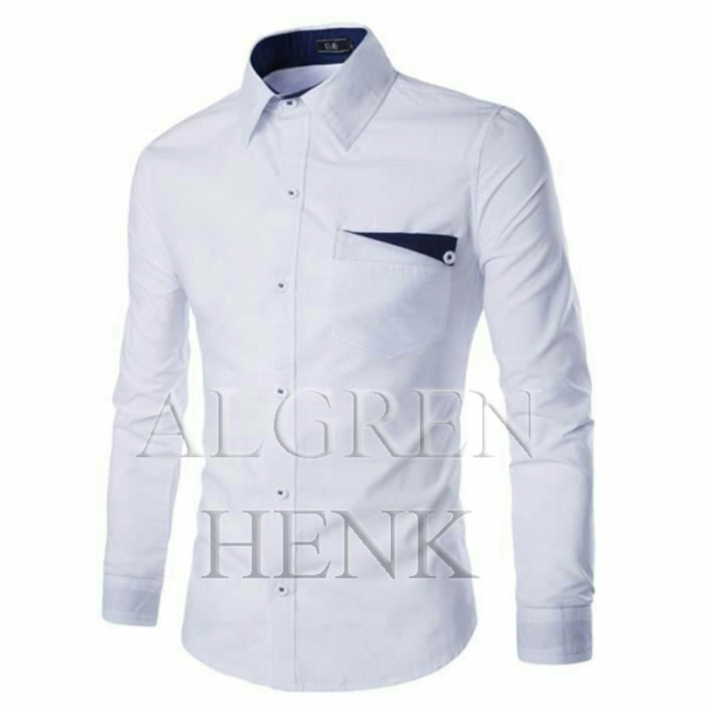 Algren Baju Hem Kemeja Pria Henk lengan panjang - Putih / Hitam / Maroon / Navy / Biru Benhur / Abu Muda / Biru Tosca / Slim fit / Casual / Polos / Kerja / Kantor / Katun / Kem / Atasan / Pakaian