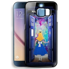 Alice in Wonderland and Tardis Doctor Who in Galaxy for Samsung Galaxy S6 Black case - intl
