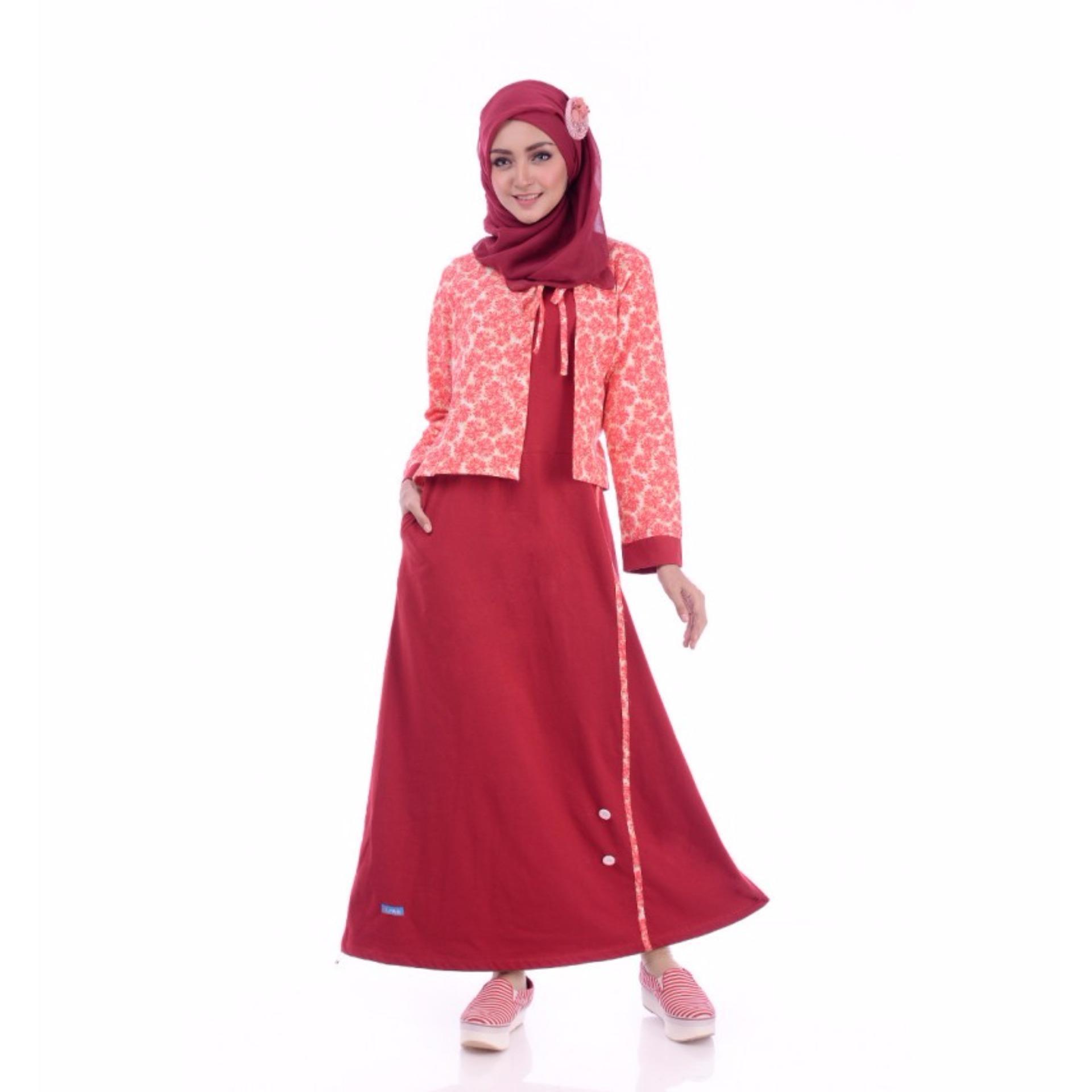 Alnita AG-18 Baju Muslim Baju Hijab Baju Muslim Modern Wanita Baju Muslim  Gamis Dress fe6889ec38