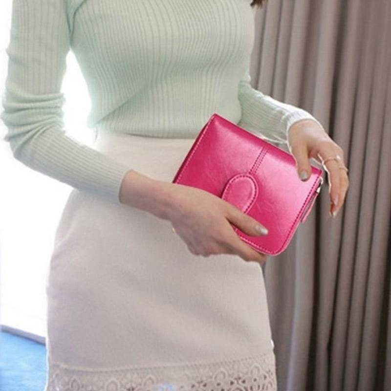 Spesifikasi Amart Fashion Korea Sederhana Dompet Mini Wanita Kulit Pu Warna Solid Beritsleting Wadah Kartu Dompet Pendek Kasual Intl Beserta Harganya