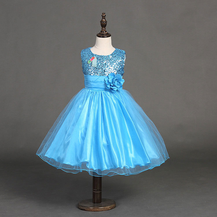 Anak Payet Lengan Dress Putri Gaun (biru Muda)-Intl