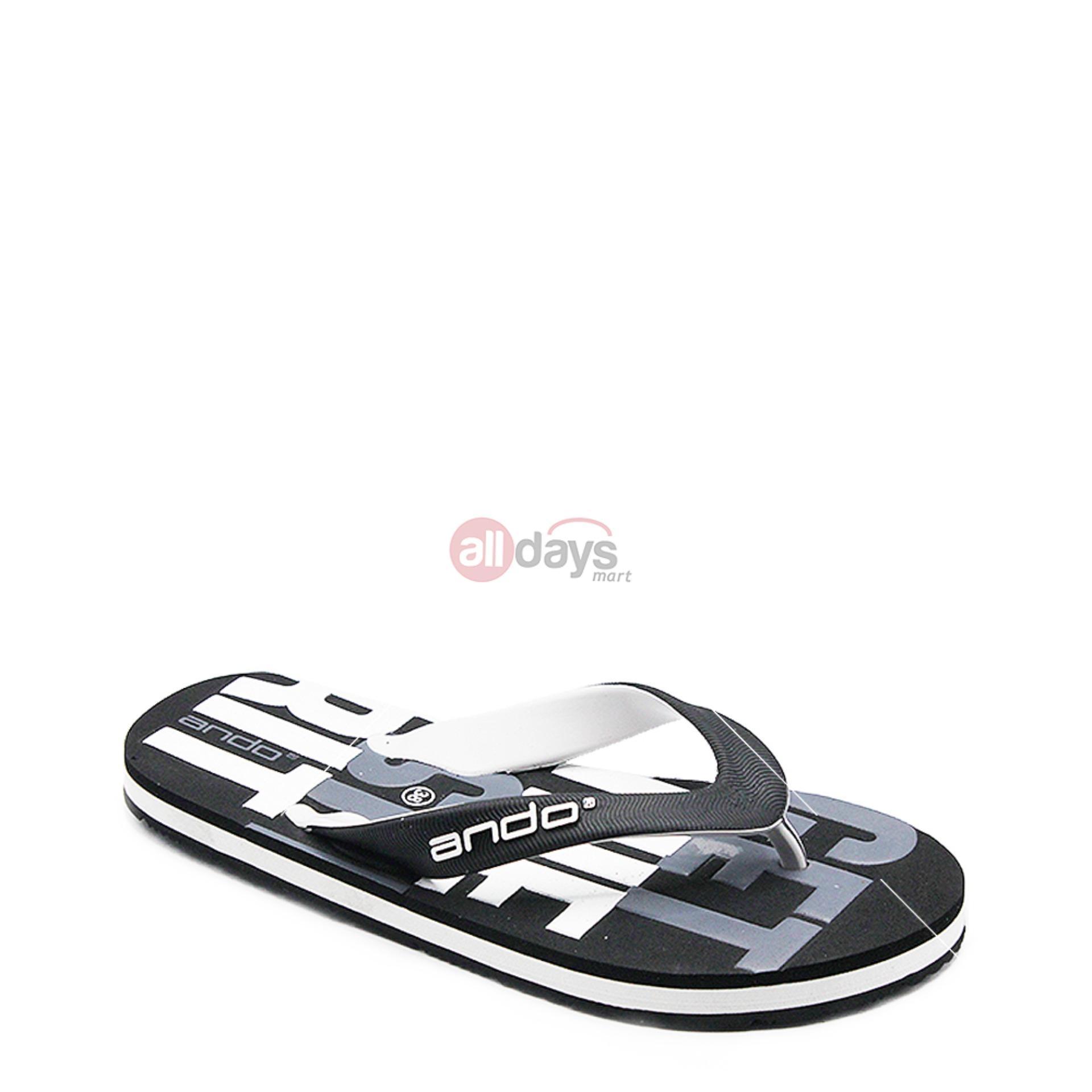 Ando Sandal Jepit Pria Grafitty 02 Black/White size 38 - 42
