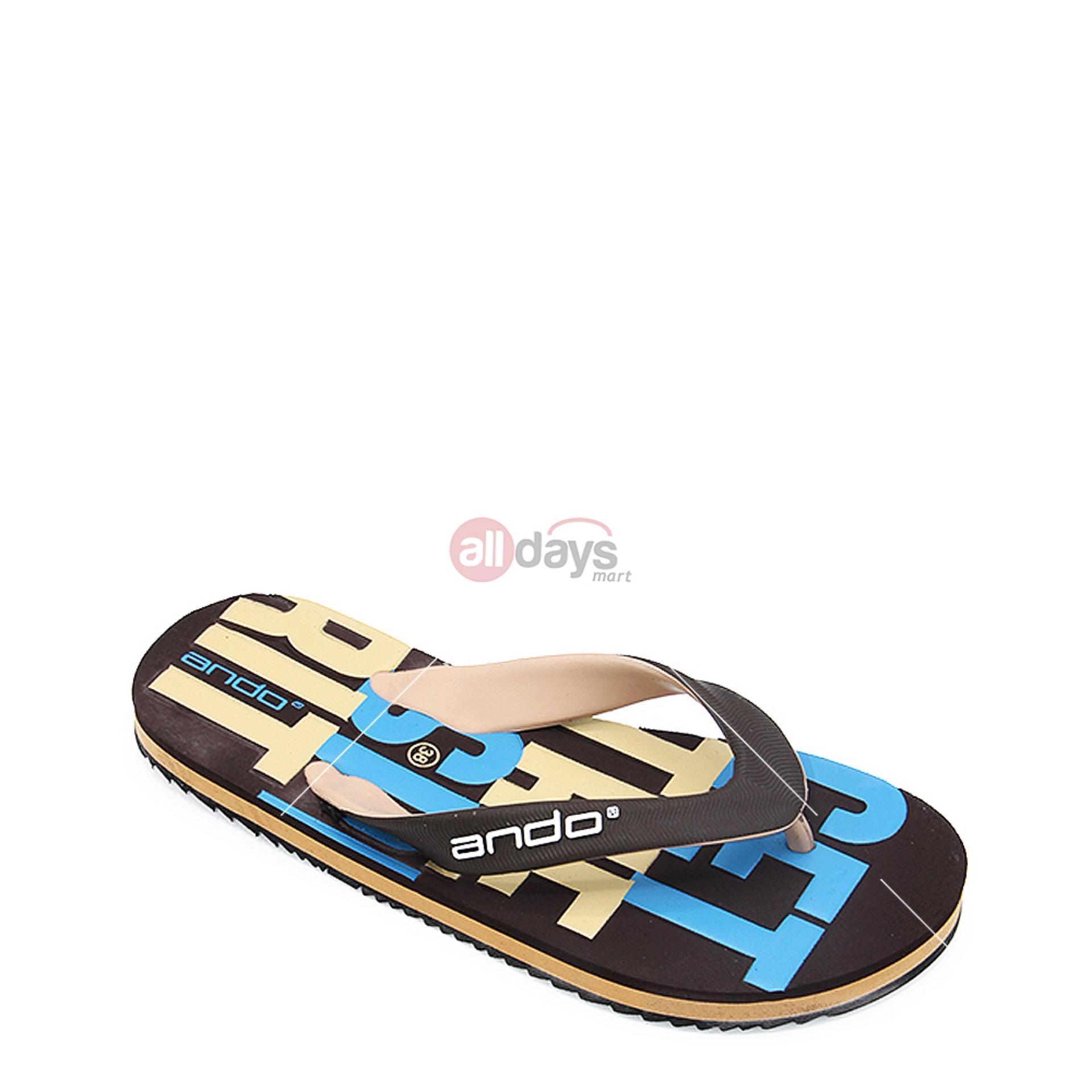 Toko Ando Sandal Jepit Pria Grafitty 02 Coklat Tan Size 38 42 Online Terpercaya