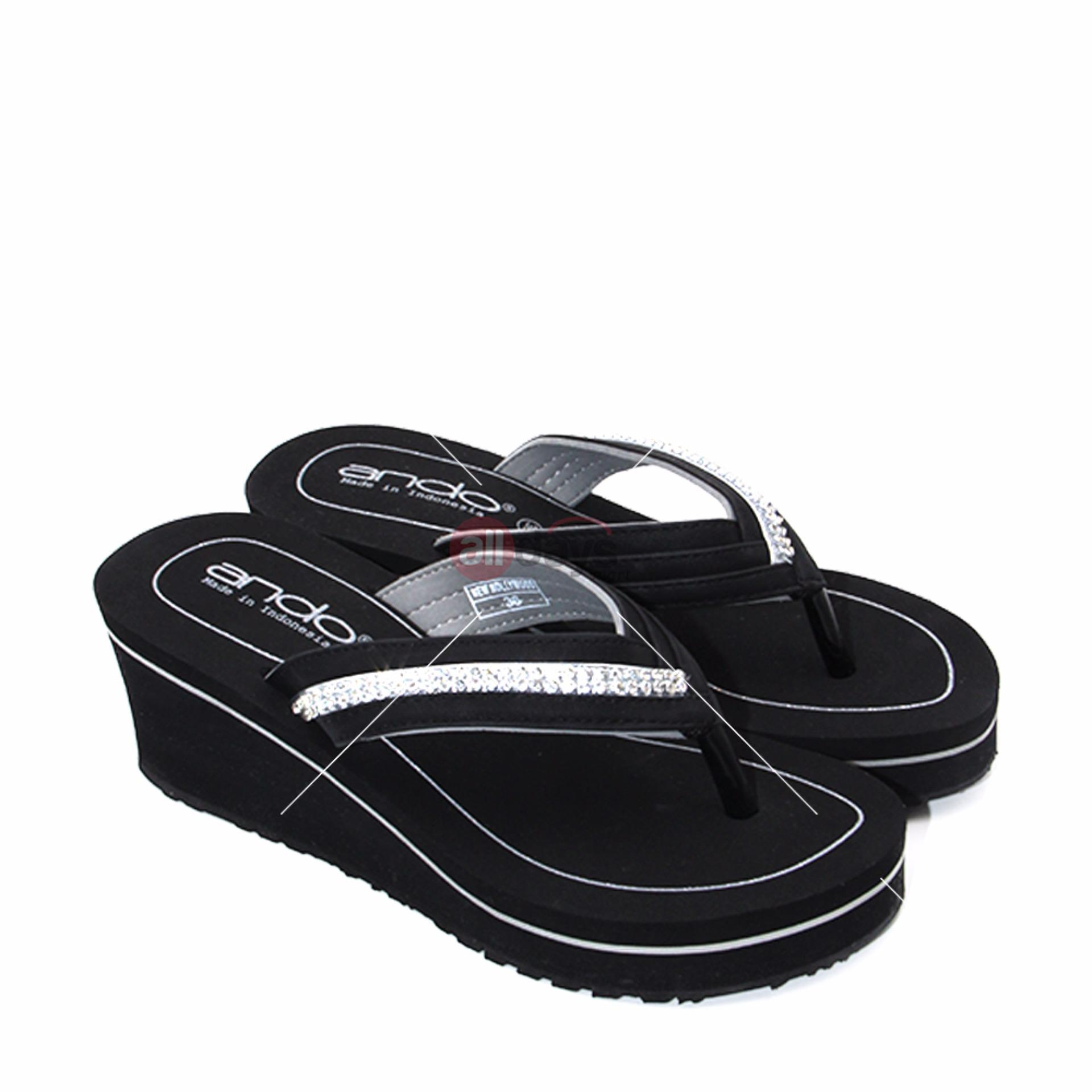 Ando Sandal Jepit Wanita Casual New Hollywood - Silver Size 36-40
