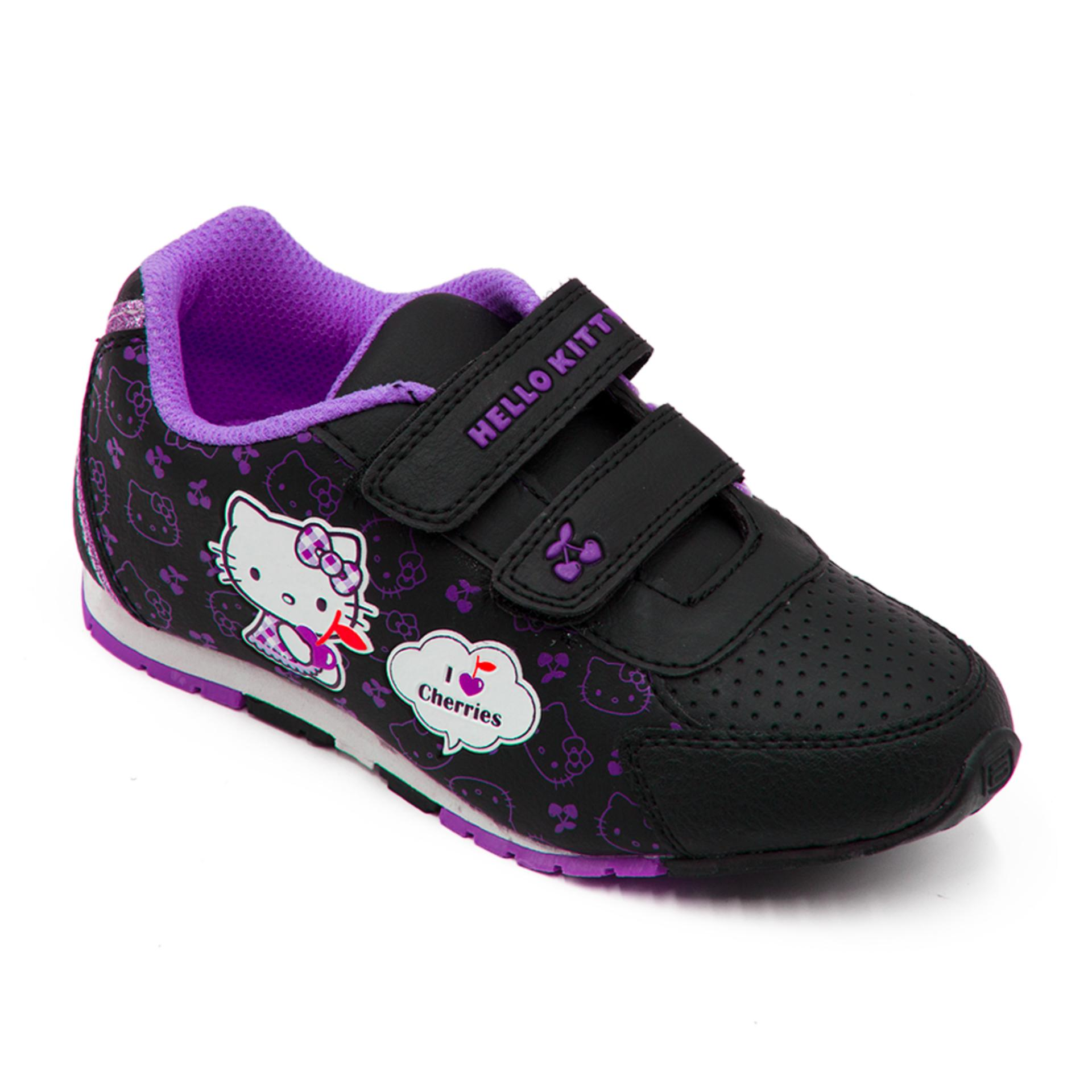 Spesifikasi Ando Sepatu Sekolah Anak Perempuan Hk Cherry Black Purple Murah Berkualitas