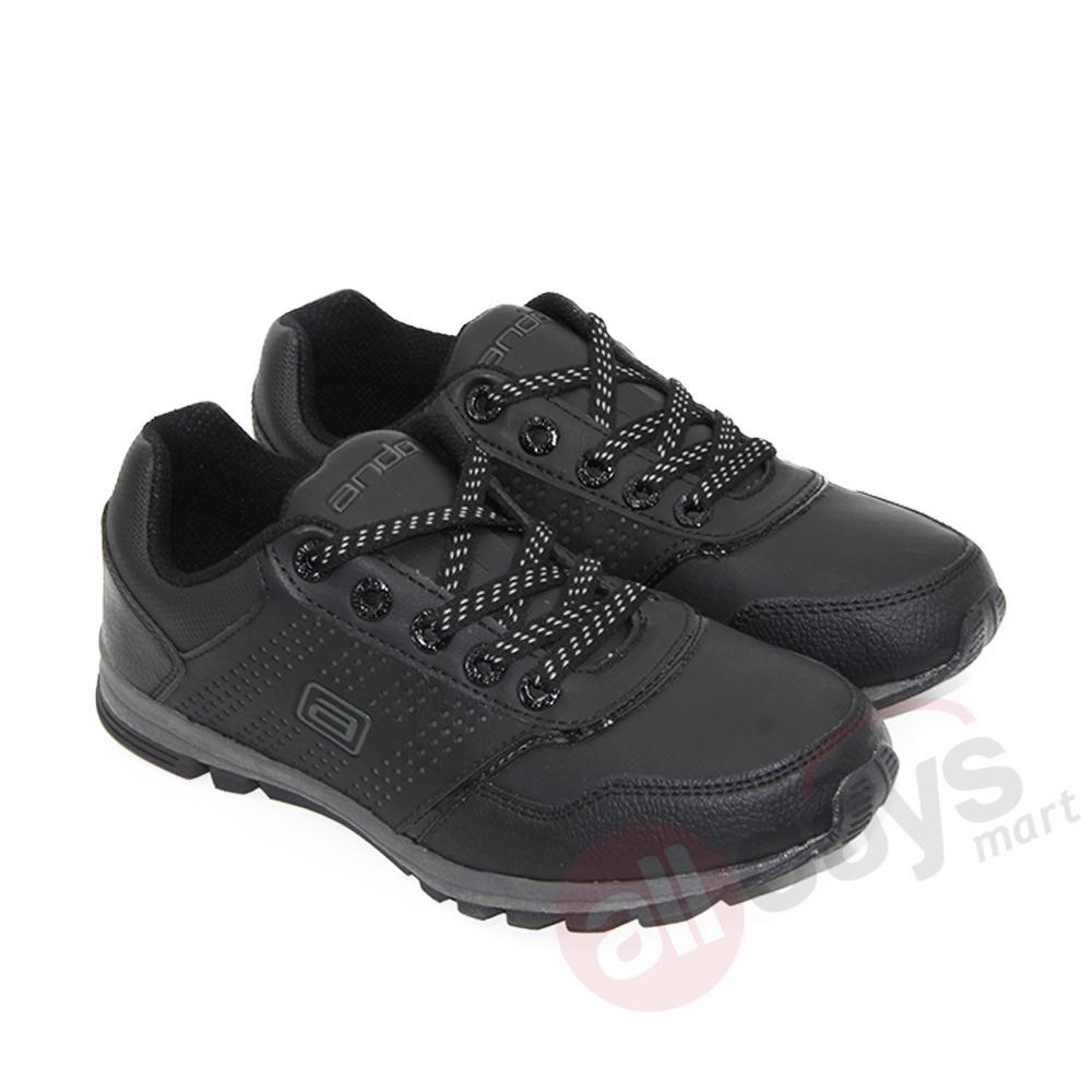 Ando Sepatu Sekolah Sneakers Morgan 03 (Tali) - Hitam