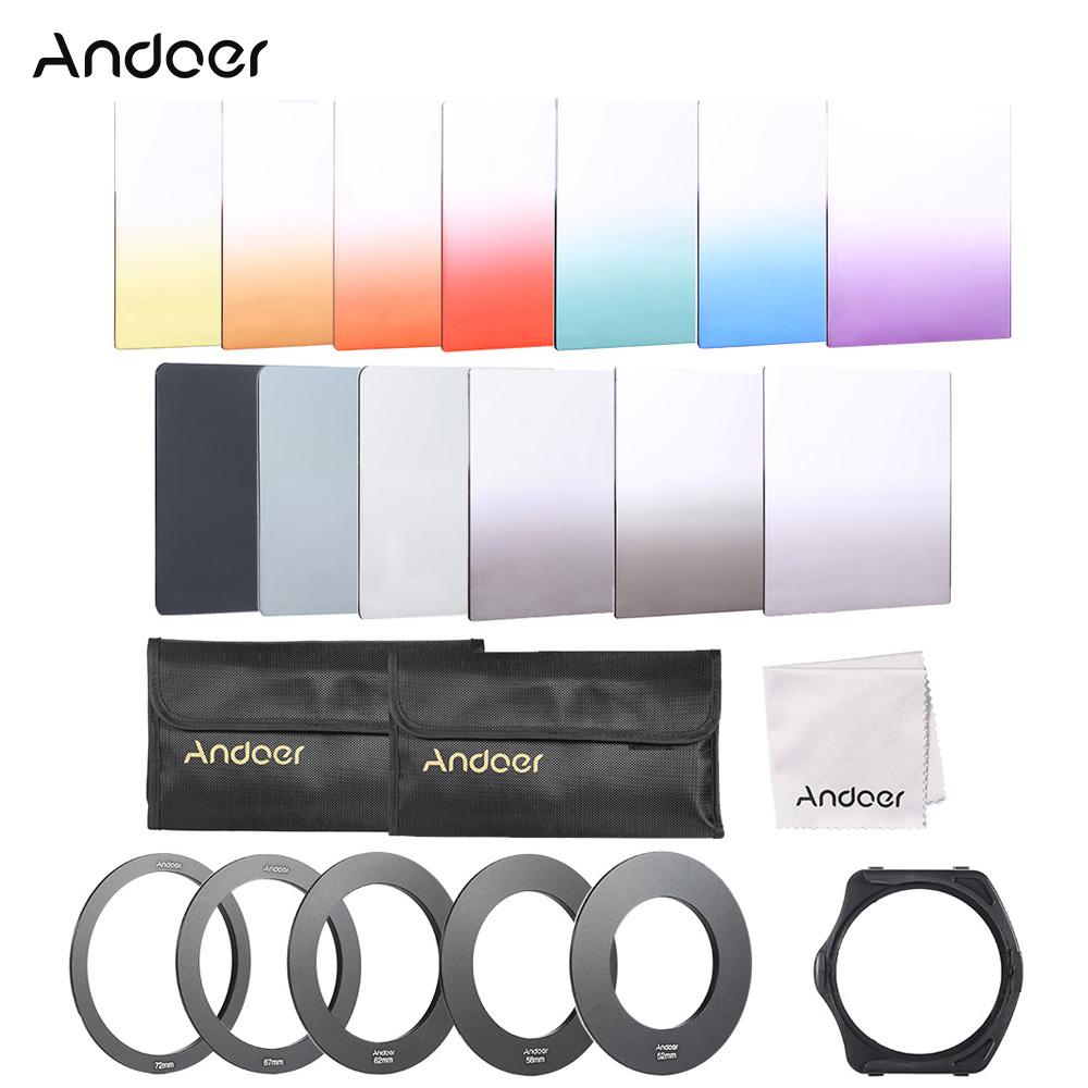Andoer 13 buah Square Filter warna gradien penuh bundel Kit untuk Cokin P Series dengan dudukan Filter + cincin adaptor (52 mm/58 mm/62 mm/67 mm/72 mm) + bagasi tas + kain pembersih - Internasional