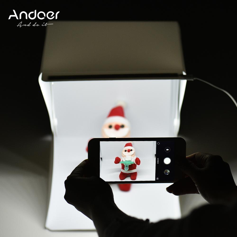 Andoer 24*24*22 Cm Portabel Lipat Mini LED Ringan Tenda Foto Shooting Kotak Kotak Lunak Lightbox With tanpa Bayangan Panel Lampu 4 Warna Latar Belakang-Internasional