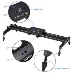 Andoer 40 Cm/15.7in Logam Campuran Aluminium Portabel Kamera Penggeser Trek Dolly Stabilizer Sistem Rel Max. beban 6Kg/1.3lb untuk Nikon Canon Sony DSLR Kamera Camcorder DV Film Video Membuat-Intl