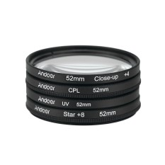 Andoer 52 Mm UV + CPL + Close-Up + 4 + Bintang 8-Point Filter Filter Bundar Kit circular Filter Polarizer Penutup Makro-Up Bintang 8-Point Filter dengan Tas Untuk Nikon Canon Pentax Sony DSLR Kamera-Internasional