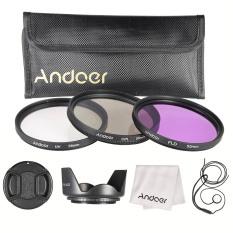 Andoer 55mm Saring Kit (UV + CPL + FLD) /nilon Membawa Kantong/Cap/tutup Lensa Pemegang//kain Pembersih Lensa Kap Lensa
