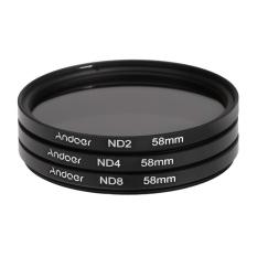 Andoer 58 mm Fader Filter ND Filter Set Kit netral kepadatan fotografi (ND2 ND4 ND8) untuk Nikon Canon Rebel T5i T4i EOS 1100D 650D 600D DSLR