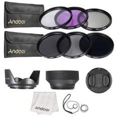 Andoer 58mm Menggunakan Filter Lensa Kit UV + CPL + FLD + ND (ND2 ND4 ND8) With Membawa Kantong/Cap/tutup Lensa Pemegang/Tulip And Kerudung/kain Pembersih Lensa Karet