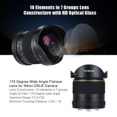 Andoer 8mm F/3.5 170? Ultra Wide HD Fisheye Aspherical Circular Lens for Nikon D7100 D7200 D7000 D300 D300S D5500 D810 D800 D800E D810A D600 D610 D700 D5 D4 D4S D3X D750 DSLR Cameras--Full Frame Camera Compatible Outdoorfree - intl