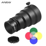 Ulasan Tentang Andoer 98Mm Mini Flash Mount Metal Snoot With Honeycomb Grid 5Pcs Color Filter Kit For Neewer Andoer Godox 180W 250W 300W Mini Studio Strobe Monolight Photography Flash Intl
