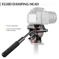 Andoer ABS 360 Derajat Fluid Drag Video Action Head Panoramic Hidrolik Redaman Kepala Fotografi For Canon Nikon Sony DSLR Kamera Camcorder For Tripod Monopod Slider Pemotretan Shooting Outdoorfree