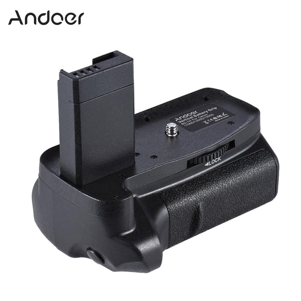 Andoer BG-1H Vertikal Grip Kompatibel dengan 2 * LP-E10 untuk Canon EOS 1100D 1200D 1300D/Rebel T3 T5 T6 /Kiss X50 X70 DSLR Kamera-Intl