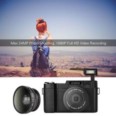 Andoer CDR2 1080 P 15fps HD Penuh 24 Megapiksel Kamera Digital 3.0 Inci Layar LCD Diputar Anti Goyang 4 X Digital Meningkat Imbo Ditarik DV Camcorder Perekam Video Cam Senter With Sudut Lebar Lensa And UV Filter Outdoorfree