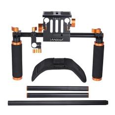 Andoer DSLR Kamera Camcorder Bahu Rig Stabilizer Genggam Film Film Membuat Sistem dengan 15 Mm Joran Pancing untuk Canon Nikon D6300 D6000 sony A7 untuk Memasang Kotak Matte Mengikuti Fokus-Intl