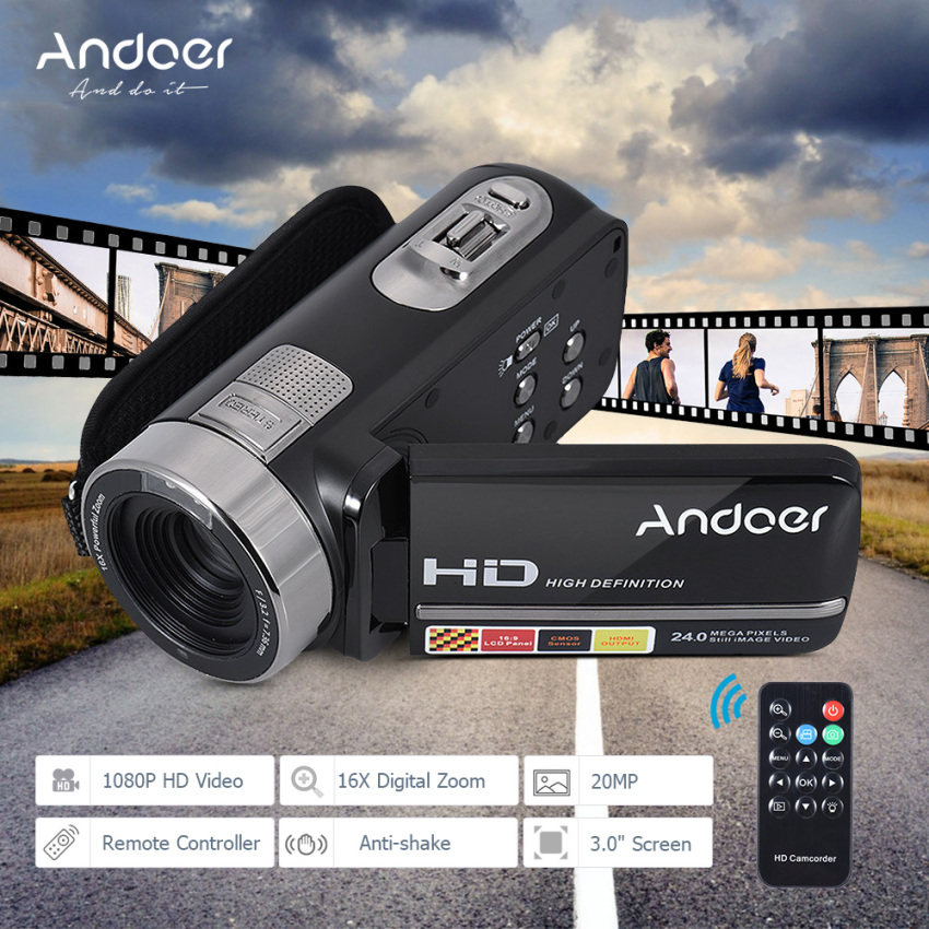 Jual Andoer Hdv 302S 3 Inch Layar Lcd Full Hd 1080 P 30Fps 20Mp 16X Digital Zoom Anti Goyang Digital Video Dv Remote Control Shutter Kamera Camcorder Intl Branded Murah