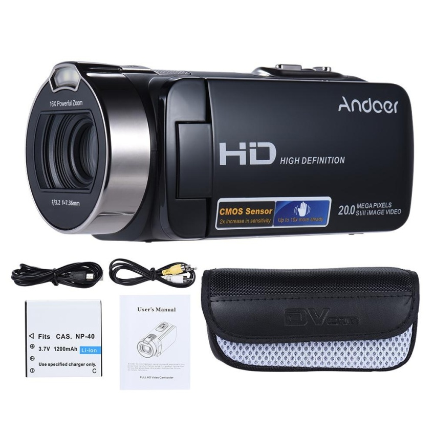 Review Andoer Hdv 312P 1080P Full Hd Digital Video Camera Portable Home Use Dv With 2 7 Inch Rotating Lcd Screen Max 20 Mega Pixels 16� Digital Zoom Intl Tiongkok