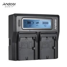Andoer LP-E6 LP-E6N Ganda Channel Digital Kamera Pengisi Daya dengan Tampilan LCD untuk Canon EOS 5DII 5 DIII 5DS 5DSR 6D 7DII 60D 80D 70D-Internasional